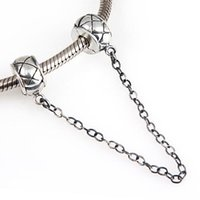 Wholesale 925 ALE Sterling Silver Safety Chains Charm Fits European Beads DIY Jewelry Findings Plaid Positioning Buckle for Pandora Bracelet Necklace
