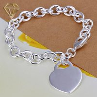 Wholesale Romantic Style Silver Plated Bubble Link Chain Lobster Clasp Love Bracelet with Heart Tag Pendant Jewelry for Girlfriend