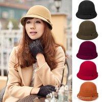 2016 vente chaude Mode Vintage Femmes Ladies Wool Fedora Bucket Dome Cloche chapeau melon chaud Avare Brim Caps