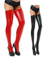 Wholesale Fashion Sexy Women s Charming Faux Leather Black WetLook Vinyl Fetish Stockings