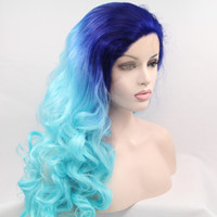 big drag wigs - Heat resistant Hair Synthetic Lace Front Wig Ombre Green Wig Afro Curly For Women Drag Queen Wig In Stock