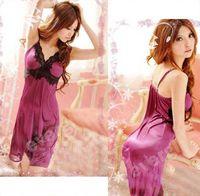 Wholesale S Purple Lace Spandex Sexy Lingerie Sleepwear Dress G string set