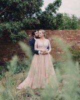 al por mayor vestido de tul de encaje de color-Vestidos de novia de talla grande de color mangas largas con Bling Sequins cuello en V una línea de tul vestidos de novia de encaje para el país de maternidad occidental 2015