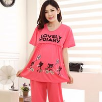 Wholesale Month of summer maternity clothes Korean short sleeved cotton pajamas maternity nursing clothes Buru Yi go home service