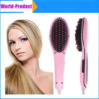 Wholesale Electric Straight Hair Comb Straightening With LCD Display Brush Hair Straightener Comb Irons Come DHL Free