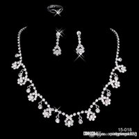 bridal necklace - 2015 New CHeapSilver plated Holy White Rhinestone Crystal Flower Earring Set Necklace Set Bridal Jewelry
