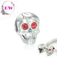 Wholesale sugar skull silver charms style loose beads fit silver European bracelets No90 X337