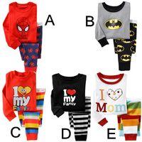 baby pajama patterns - Kids Pajamas Boy Girl Long Sleeve Pajama Set Baby Autumn Winter Cotton Round Neck Sleepwear Children Spiderman Superman Pattern Clothing