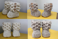 baby cotton outlet - OUTLETS cotton yarn toddler booties Crochet snow shoes knitted baby shoes multilayer newborn crochet shoes scales walker shoes pairs