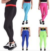 aa leggings - AA High Waist Pencil Leggings Nylon Tricot High Waist Leggings female fluorescent candy colors sport pants Good Elasticity