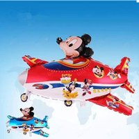 airplane party balloons - Mickey fly a plane Foil balloons Birthday Party Decorations Kids cartoon Airplanes Shape Weddding party Baby Boy balls toys