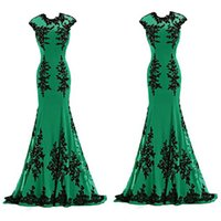 affordable photos - Affordable Emerald Green Evening Gowns Mermaid Long Formal Prom Dresses Illusion Jewel Neckline Beaded Black Lace Appliques Floor Length