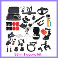 Wholesale 36 in Gopro Accessory Kit Chest Head Strap Floating Monopod Family Kit GoPro accessories set Package for Gopro Hero Xiaomi Yi