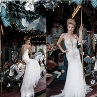 bridal lace applique - 2015 Sexy Mermaid Wedding Dresses Crystal Beaded Lace Appliques Backless Tulle Chapel Train Inspired by Pnina Tornai Bridal Dresses