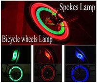 al por mayor electric motorcycle-rueda de la bicicleta LED de ruedas de bicicleta rayos de la lámpara de las luces de la motocicleta eléctrica coche de silicona 4 colores accesorios de flash ciclo de luz de alarma