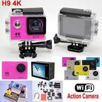 Precio de Camera underwater-Cámara Acción H9 Ultra HD 4K WiFi 1080P / 60fps 2.0 LCD 170D lente Helmet Cam estilo impermeable submarina SJ4000 cámara GoPro HDMI