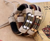 Wholesale 2016 latest version punk style genuine leather bracelet handmade men woman Spring wood bead rope adjustable bracelet
