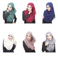 Wholesale 2015 New Arrived Women Muslim Hijab Islamic Headband Solid Plain Fashion Bonnet Hijab Cap Casual Head Cover Wraps