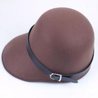 baseball belt buckles - new Baseball Cap Horsemanship wool Blend Riding Hat Solid Color Women Belt Buckle Bowler Fedora hat JD