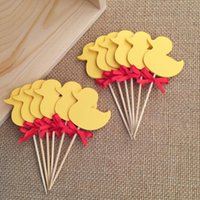 baby shower cups - Double Sided Yellow Duck Cupcake Toppers Picks Baby Birthday Party Decorations Baby Shower Cup Cake Toppers