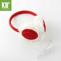 Cheap Wholesale-#**[Heartful Twist] KBB Unisex Red Warm Fall Autumn Winter Fluffy Hands Free Music MP3 Speaker Earmuffs For Smartphones