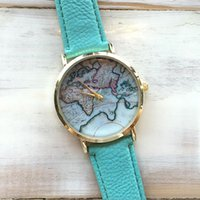 Wholesale 2015 New Fashion World Map Watch Geneva Watches Women Dress Watches Quartz Wristwatch Watches