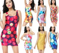 Wholesale Women Fashion Candy Dress Printed Dress Crew Neck Women Sexy Dresses Stylish Skinny Elastic Casual Dresses Colors