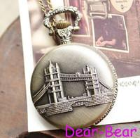 london necklace - DH108 Vintage Antique Bronze London Bridge Pocket Watch Necklace dandys