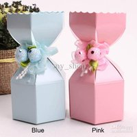 Wholesale 2015 new collection paper square Candy Boxes Blue and Pink Paper Sweet Wedding Favor Holders