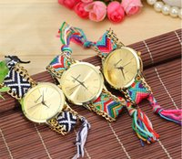 Wholesale HOT Colors Bracelet Quartz Rope Watch Geneva Ladies Women Weave Dress Watch Handmade Braided Hand Woven Fashion Wrist Watches Christmas