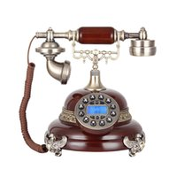 antique woodwork - New Product Ideas Fashion European with Stereo Carve Patterns or Designs on Woodwork Hands free Blue Screen Antique Telephone