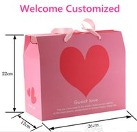 environmental paper - Customized Environmental paper tray Love Pink Gift Box New Married Laser Cut Paper Wedding Favor Candy Box Boxes Candy Bag