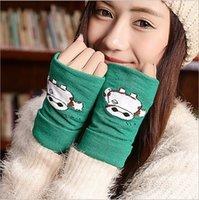 Wholesale 2015 Fashion Winter Knitted Cotton Fingerless Gloves Women Wrist Soft Warm Mitten Super Warm Pink Green Red Knitted Golves
