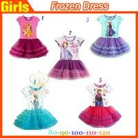 2015 mais novo Congelado BEBÉ Tutu Vestido Elsa Anna princesa manga curta Crianças vestido de algodão Hot Kids Clothing preço de fábrica A qualidade +++