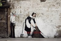 alley pictures - Graffiti in an alley Maid Sweeping by Banksy Wall Art Picture Painting Pure hand paintedfor Living Room Decoration Panel Art Fre