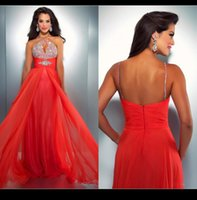 apple holiday - Elie Saab Style Orange Evening Prom Dresses A Line Beaded Sequined Summer Beach Chiffon Wedding Guest Dress Party Casual Holiday Clubwear QM