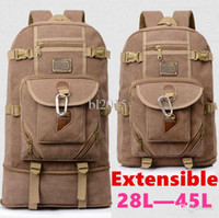 Wholesale Extensible canvas leather backpack new hiking shoulder bag men women PC backpacks multi purpose color canvas travel rucksack