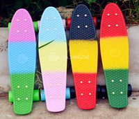 Wholesale inchs Fade Pastel Three color Skateboard Complete four wheel Long board Cruiser skate board