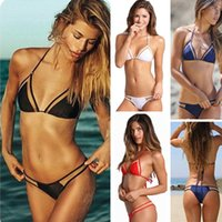Wholesale Sexy Mesh Triangular Bikini Swimsuits Sexy Halter Bikinis Beachwear Swimming Suits Ladies Black White Red Pink Micro Bikinis OJE0403