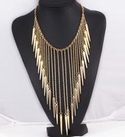 Wholesale Brand Punk Rivet Necklace Spikes Statement necklace for women Alloy Vintage Necklaces pendants Fashion jewelry Rivets Tassel Necklaces