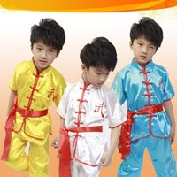 Wholesale Boy Sleeved Show Clothes Costume Kung Fu Martial Arts Team Performance Clothing Suit Stage Wear A0275