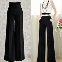 palazzo pants - Women Sexy Fashion Casual High Waist Flare Wide Leg Long Pants Palazzo Trousers