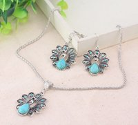 Wholesale Antique Silver Plated Mosaic Crystal Peacock Pendant Necklace Earring Turquoise Fashion Jewelry Set set