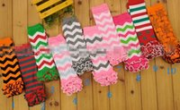 Wholesale Chevron Leg Warmers Baby Ruffle Leg Warmer Baby infant colorful leg warmer child socks Legging Tights Legging toddler kneecap XW