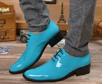 Men Oxfords Spring and Fall New British Pointy men's Candy color shine leather shoes 3color men's casual shoes men's wedding shoes dress shoes 4NX207