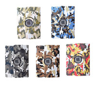 Wholesale Pro Camouflage Rotating Folio Flip Stand Leather Smart Case Cover For iPad Air Air2 Mini Mini2 Mini3 iPad5 iPad6 iPad2