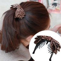 Cotton banana grips - Free ship pc Hair jewelry leopard fabric bow gripper hair grip banana clip order lt no tracking