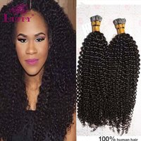 Wholesale LUFFY g kinky Curly I Tip Hair Extensions Virgin Mongolian Human Hair Fusion Hair Extensions I Tip Pre bonded Hair