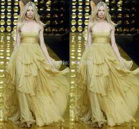 Cheap High Fashion 2014 Long Gold Dress A Line Floor Length Elie Saab Evening Dress Ruffles Long Prom Party Dress Vestidos Longos