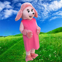 adult poodle - Adult Size Quality Lovely Pink Poodle Mascot Costume Suit Halloween Christmas Birthday Dress Pink Dog Mascot